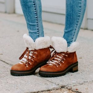 Brown faux fur boots